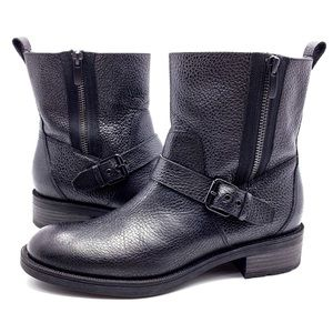 Nine West Hanzil Black Moto Ankle Boots Booties